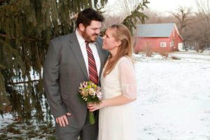 Wedding Couple Winter Pine, Snow and Barn