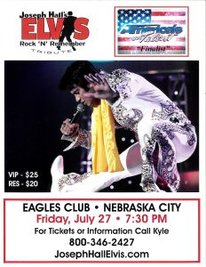 concert info Joseph Hall Elvis Tribute in Nebraska City