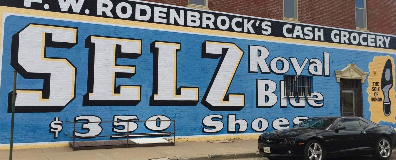Selz Shoes building mural