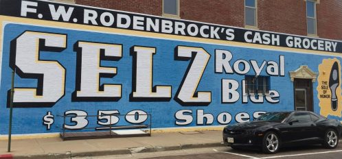 Selz Shoes building mural