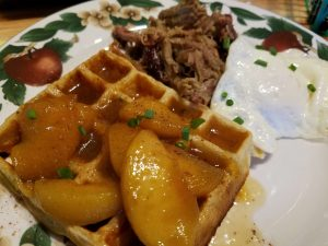 Cheddar Cheese and Chive Waffle topped with Peaches