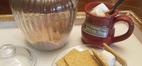 Summertime Hot Cocoa with graham crackers and marshmallows