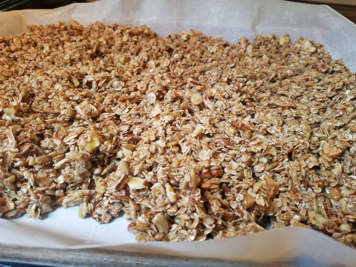 Granola on sheet pan just out of oven