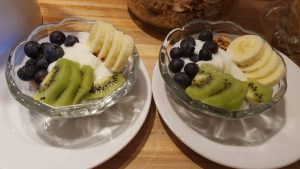 Granola, yogurt and fruit bowl